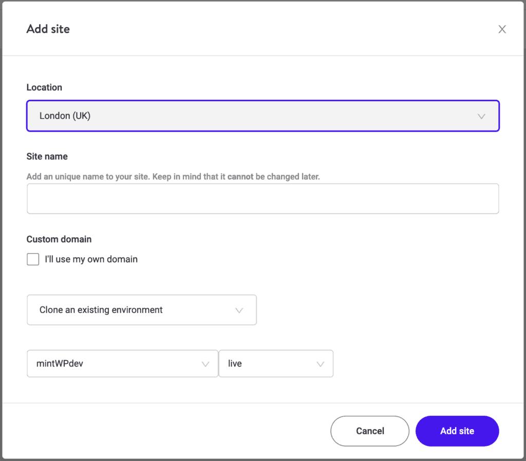 Kinsta: Add a new website Step 2 (Cloned site)