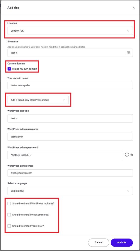Kinsta: Add a new website Step 2