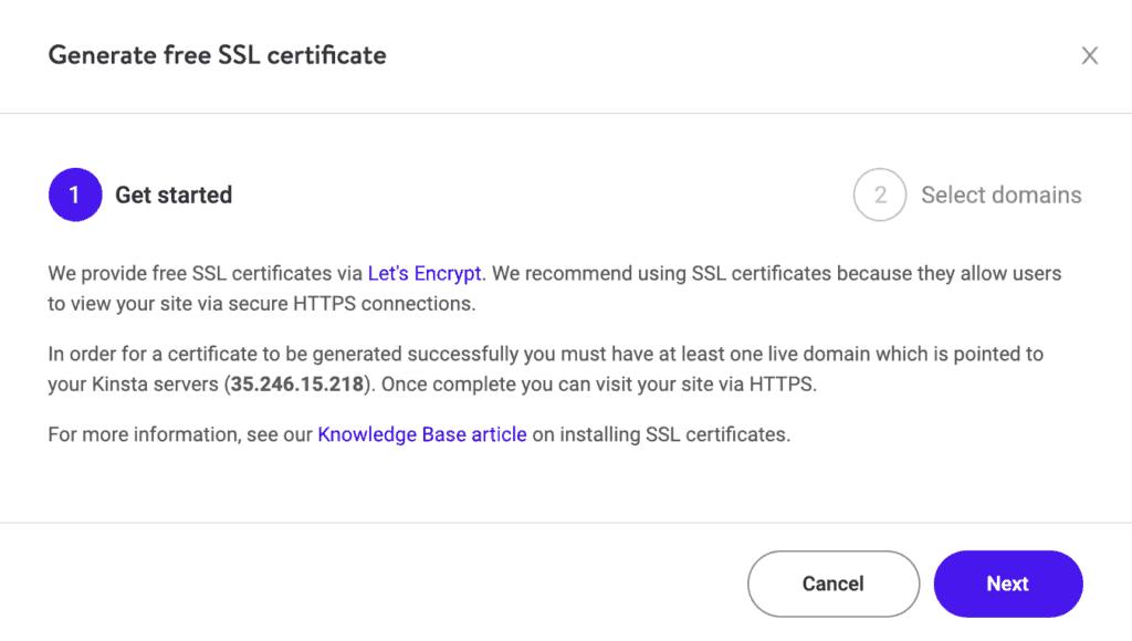 Kinsta: Add a new website Step 5: Add SSL Certificate