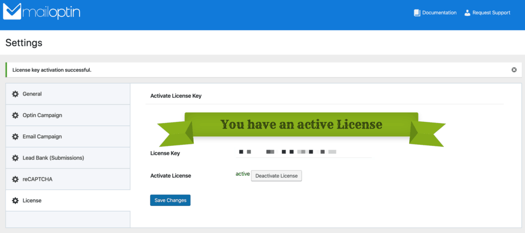 MailOptin License screen