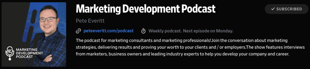 Marketing Development Podcast with Pete Everitt