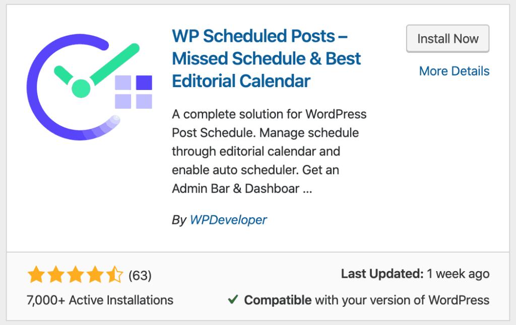 WP Scheduled Posts Installation