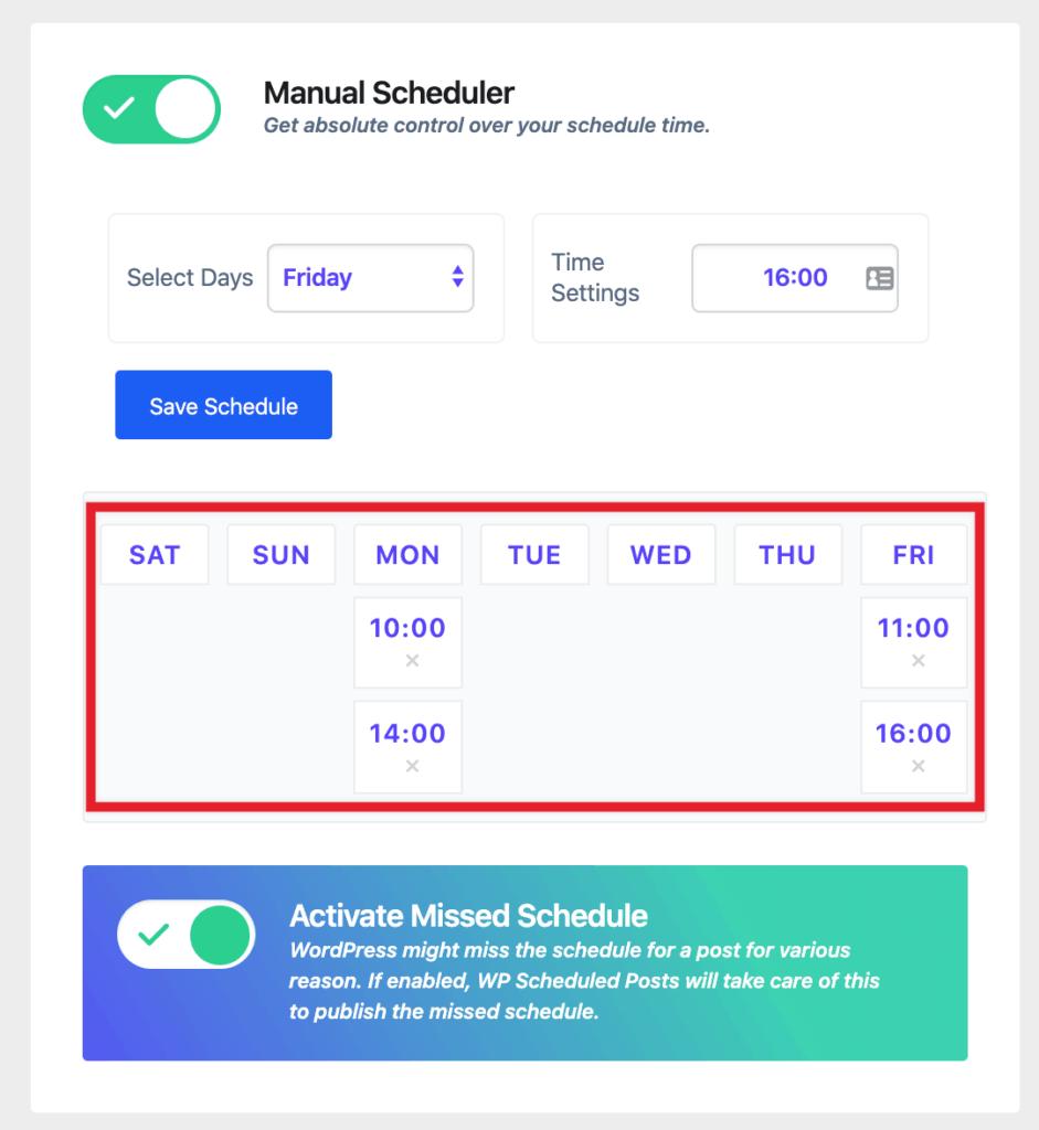 WP Scheduled Posts - Manual Schedule set