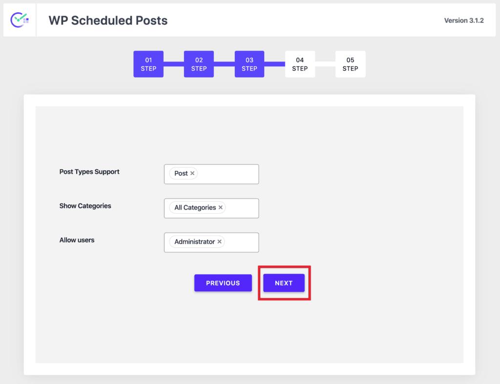 WP Scheduled Posts Wizard - Step 3