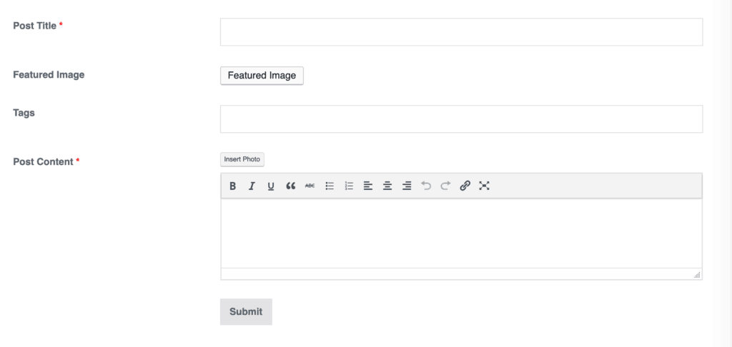 WP User Frontend Post Form Builder Preview