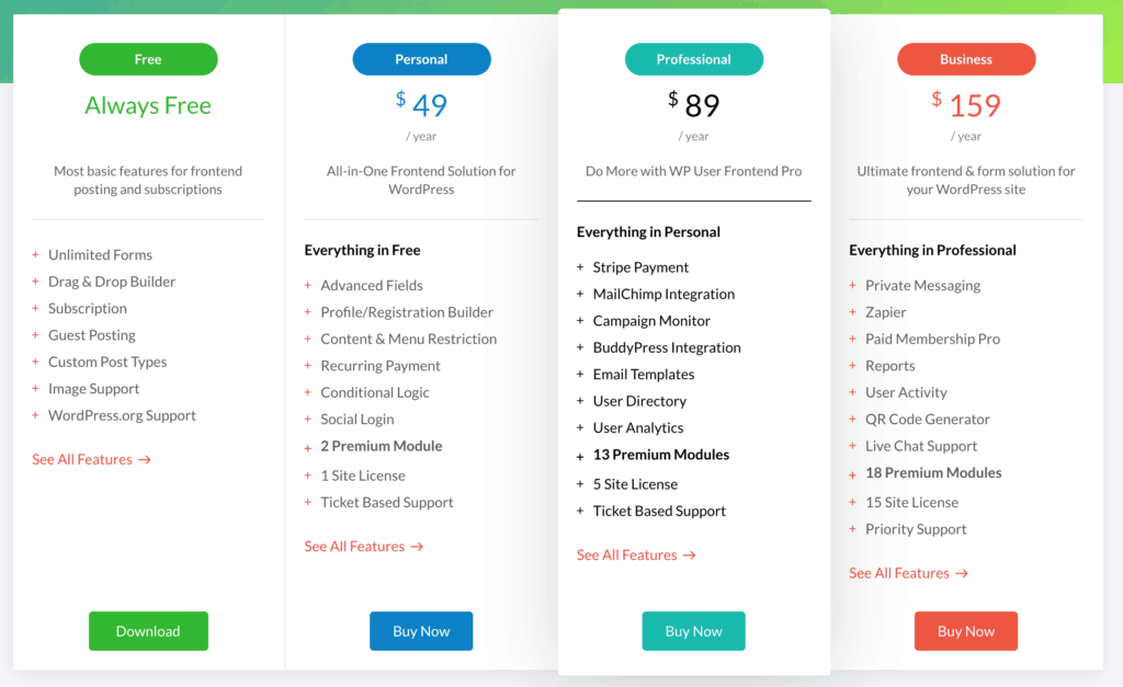 WP User Frontend Pro: Pricing