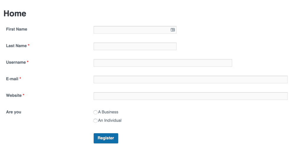 WP User Frontend Pro Registration Form Editor - Preview