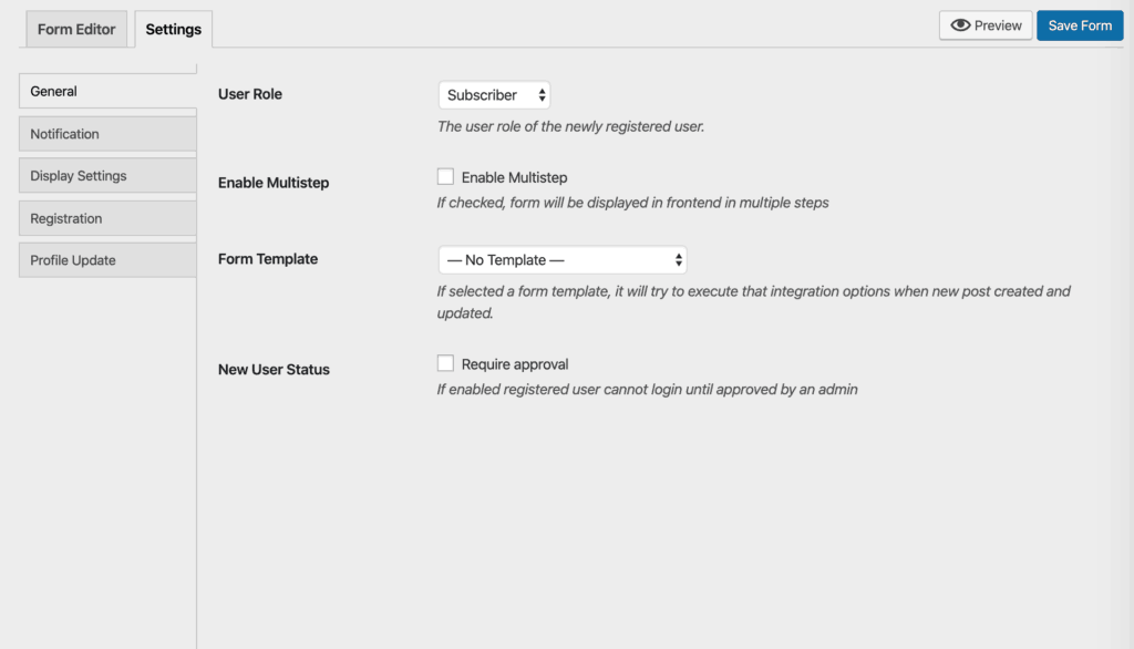 WP User Frontend Pro Registration Form Editor - Settings