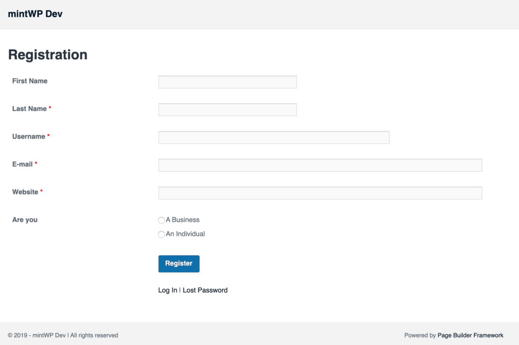 WP User Frontend Pro Example Registration Page